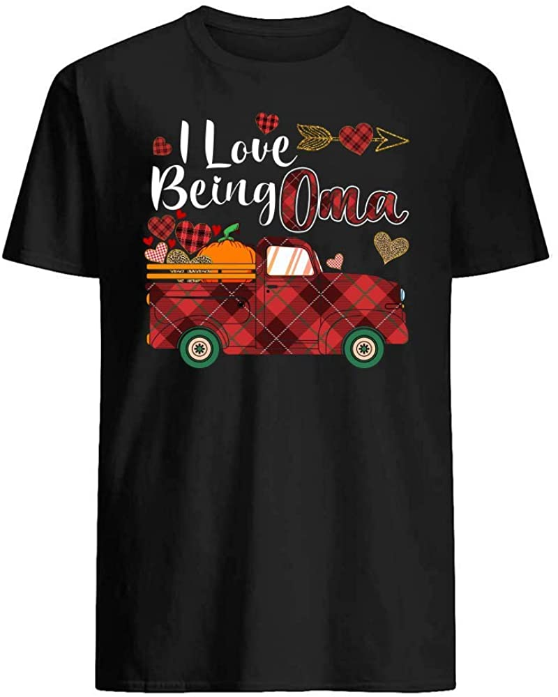 I Love Being Oma Truck Pumpkin Heart Plaid Leopard Style Family T-Shirt Graphic Novelty Cotton Tee Short Sleeve for Unisex