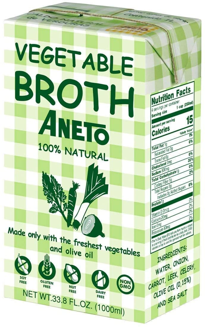 Aneto 100% Natural Spanish Vegetable Broth 34 Fluid Ounce