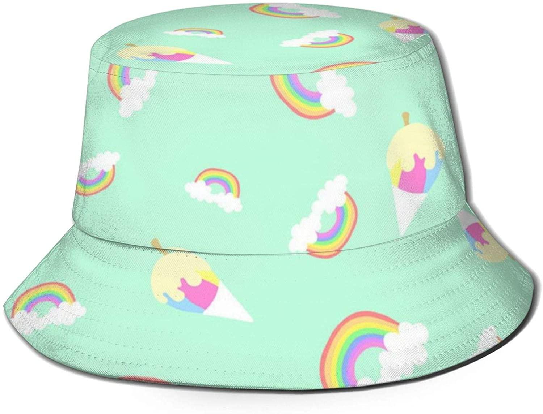 Neddelo Kawaii Rainbow Summer Fisherman's Cap, Fashion Sun Hat, Breathable Washed Beach Bucket Hat for Men Women