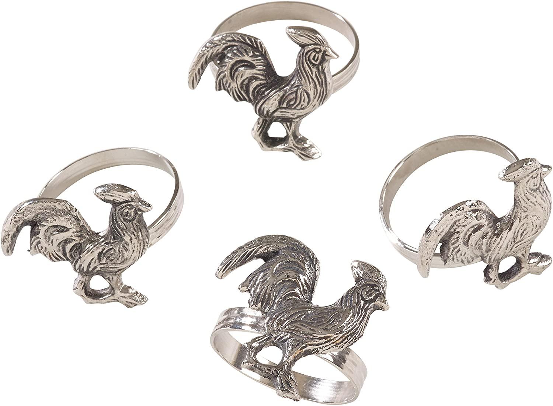 SARO LIFESTYLE Rooster Design Farmhouse Style Napkin Ring (Set of 4), 2.5