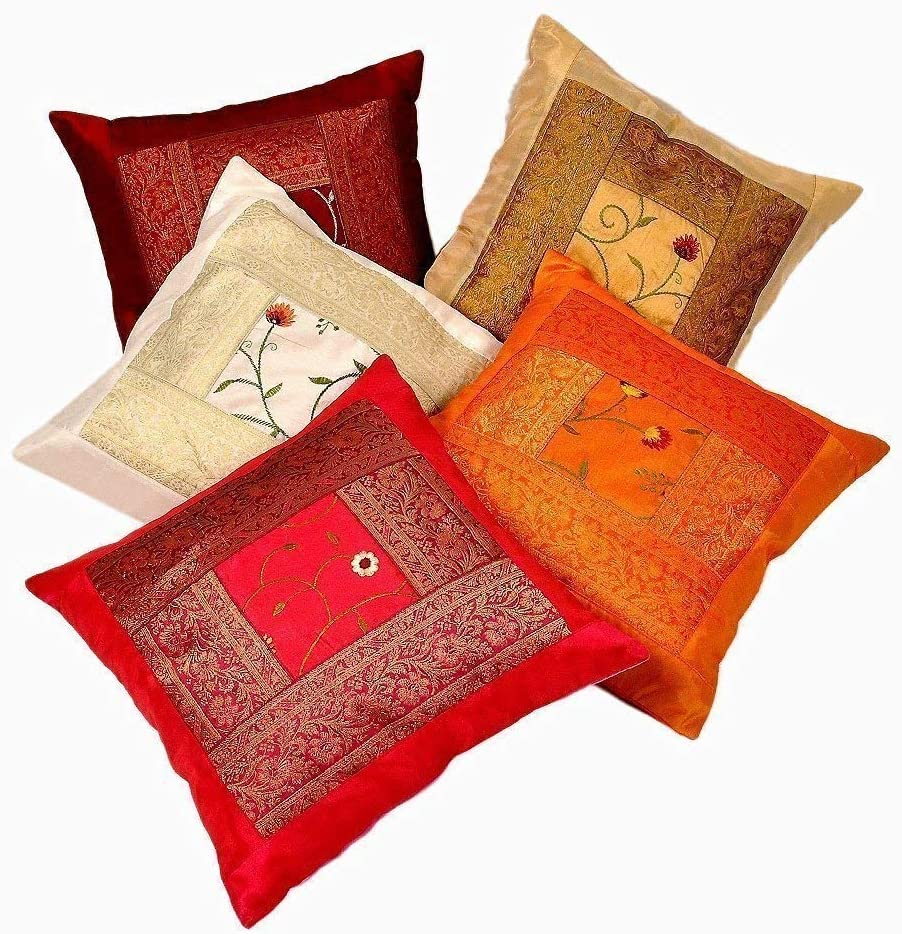 Hemsi-77 Indian Ethnic Hand Embroidery Decorative Silk Pillow Cushion Cover Set of 5 Pcs Size 16 X 16 Inches