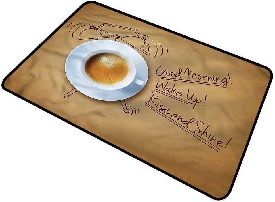 DESPKON-HOME Coffee, Pet Mat Alarm Clock with Quotes Low-Profile Rug Doormats for Shoe Scraper 18x30 Inch