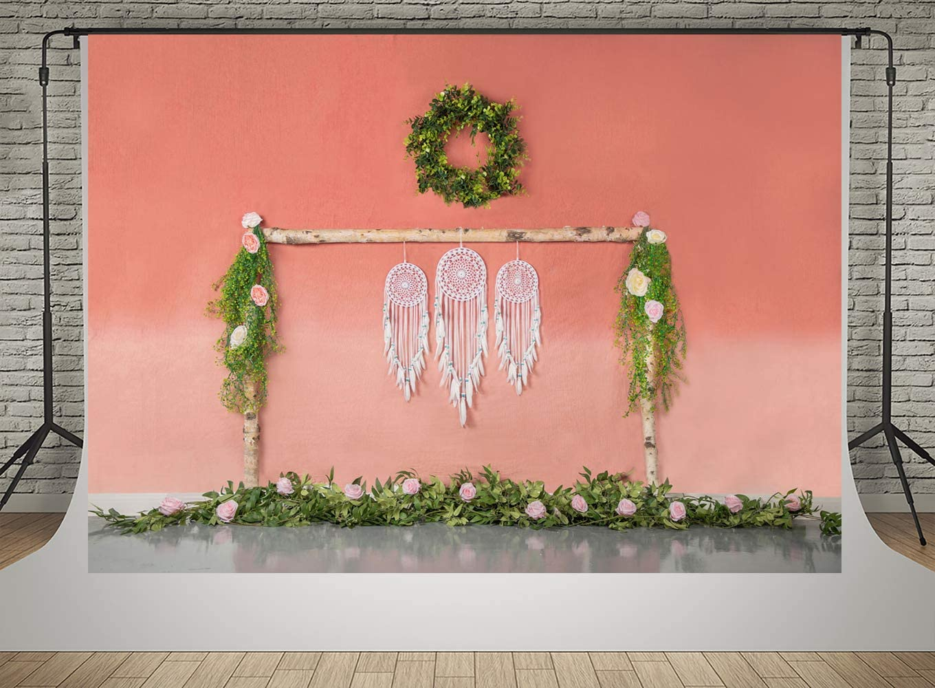 Kate White Dream Catcher Photography Backdrops 20x10ft Pink Painting Wall Pink Flowers Background Spring Green Tree Branches Backdrop Kids Shooting