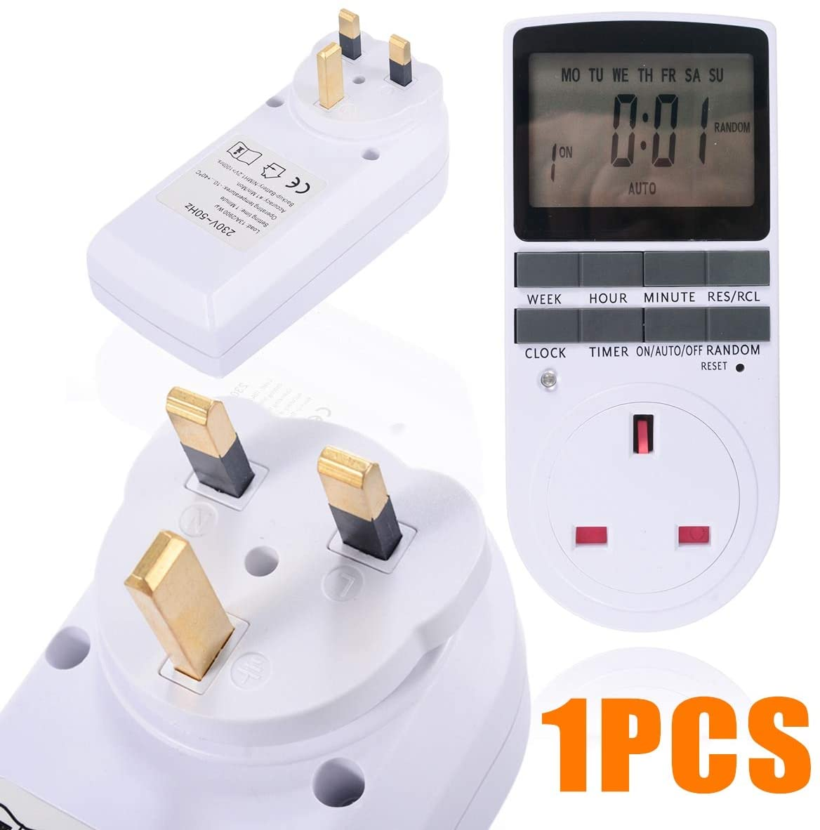 DORATA - LCD Digital Programmable Timer Switch Socket Electronic UK Plug 12/24 Hours Timer Switch Socket with Clock for Home Timer Switch