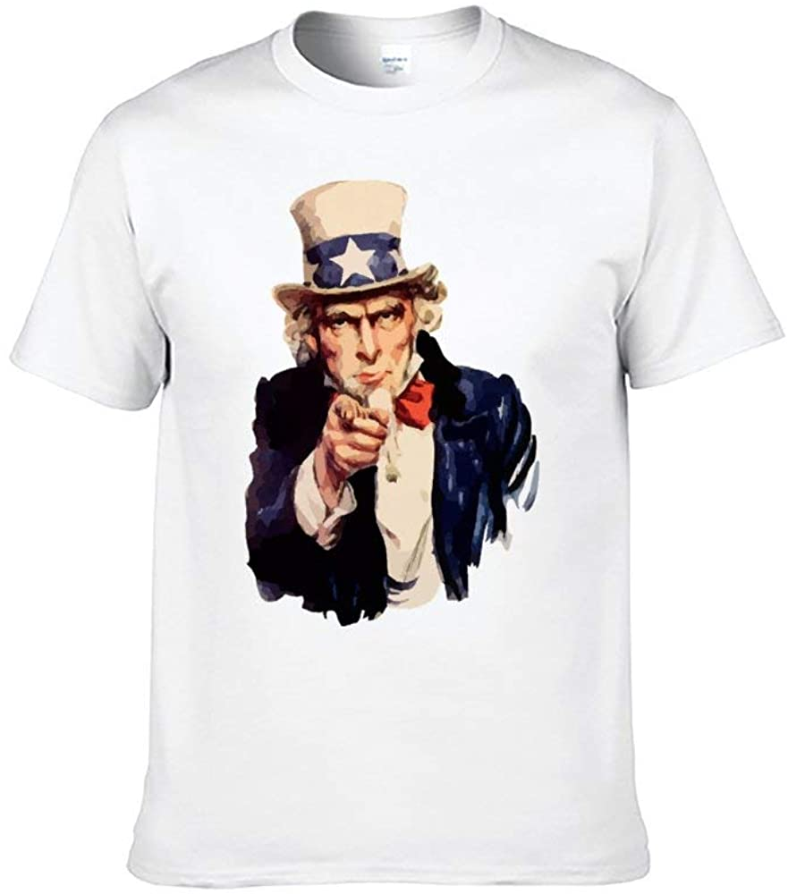 Men's America Sam Uncle Painting Print T-Shirt Patriotic Funny Graphic Tops White 4XL