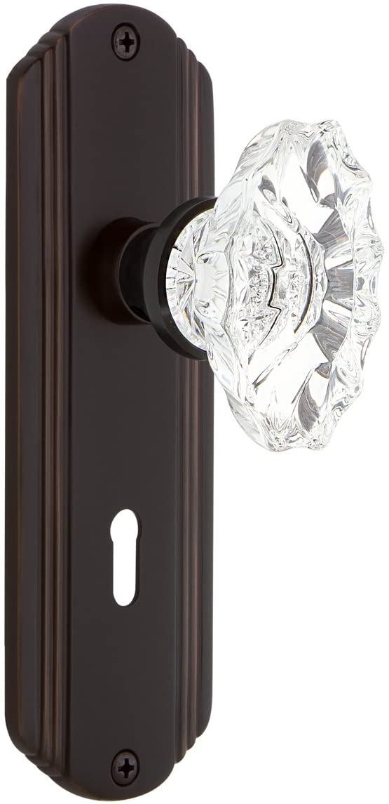 Nostalgic Warehouse Deco Plate with Keyhole Privacy Chateau Door Knob in Timeless Bronze