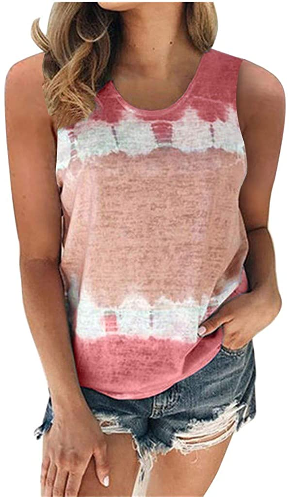 Womens Tank Tops Loose Fit, Womens Tops Summer Tie-Dyed Sleeveless Vest Tunic Top T-Shirt Casual Blouses Tee Shirts Wine