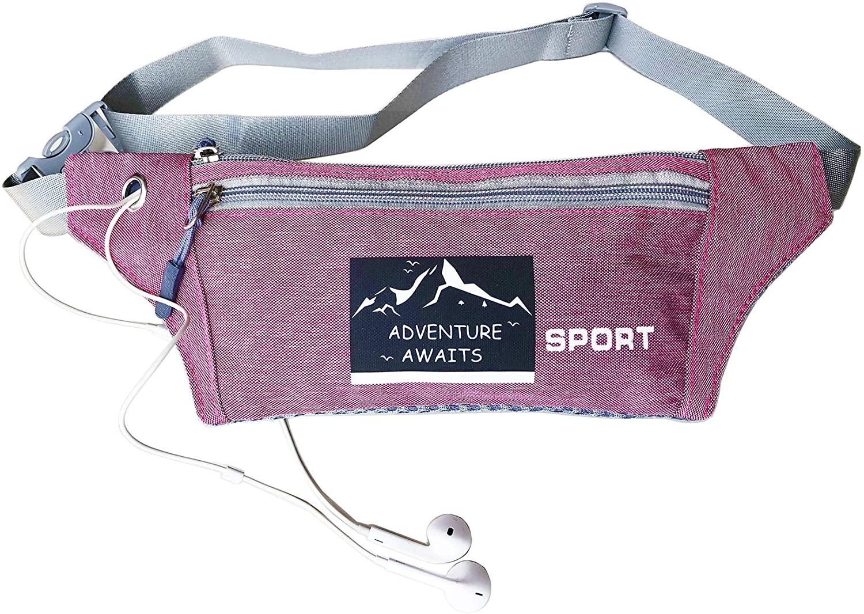 Oliveland Adventure Awaits 2 Layers Slim Fanny Pack Travel Purse Waist Bag Running Belt Hiking Travel Bag Wallet (Pink)