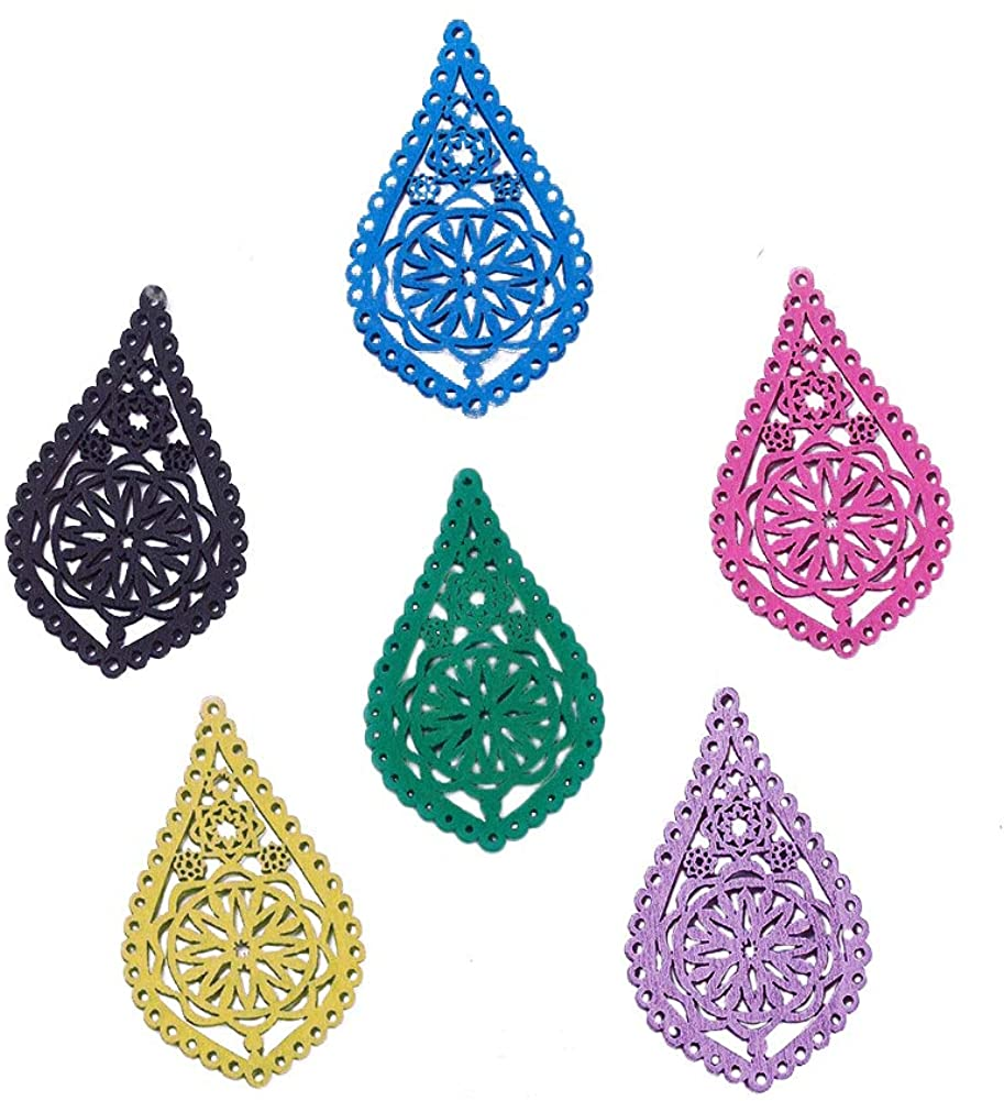PH PandaHall 10pcs Wood Filigree Joiners Links Teardrop with Flower Connectors Charms Pendants Filigree Wooden Embellishments for DIY Hairpin Headwear Earring Jewelry Making (Mixed Color)