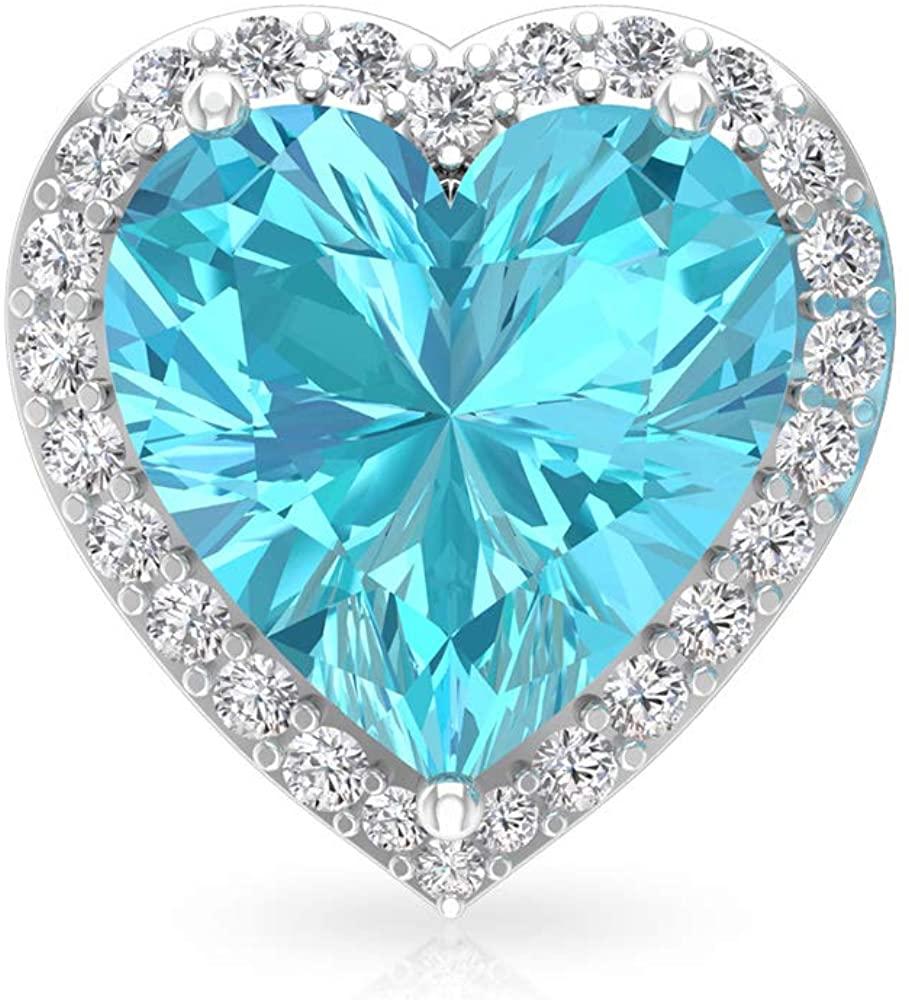 Custom 3.19CT Heart Shape Blue Topaz Swiss Diamond Halo Earring, Certified Solitaire Heart Gemstone Bridal Earring, Bridesmaid Vintage Birthstone Stud, Screw Back