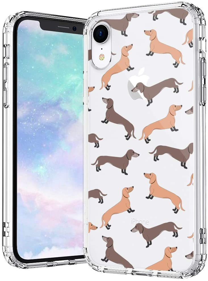 MOSNOVO Cute Dachshund Pattern Designed for iPhone XR Case - Clear