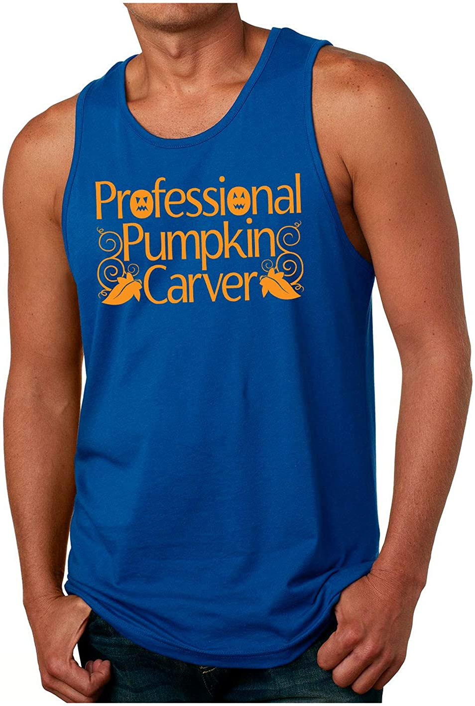 HARD EDGE DESIGN Men's Professional Pumpkin Carver Tank Top, Large, Royal Blue