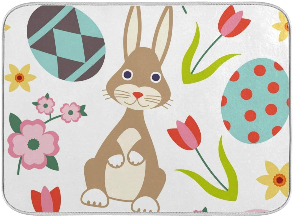 16x18 Inch Absorbent Microfiber DishDryingMatsforKitchenCounter Sinks with Hanging Loop - Easter Related Symbols