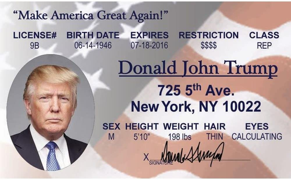 Signs 4 Fun NDTID2 Donald Trump's Driver's License