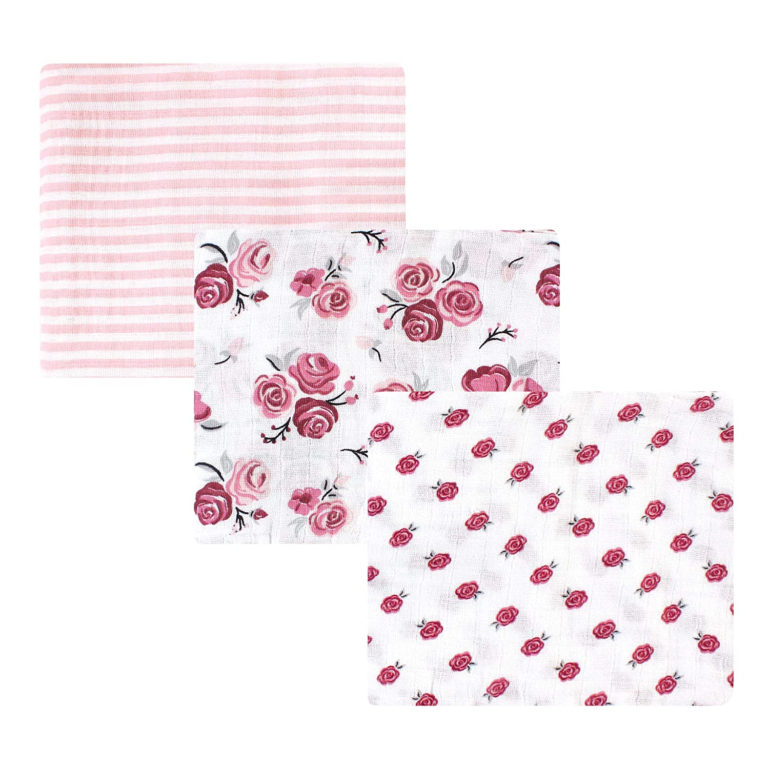 Hudson Baby Unisex Baby Cotton Muslin Swaddle Blankets, Rose 3-Pack, One Size