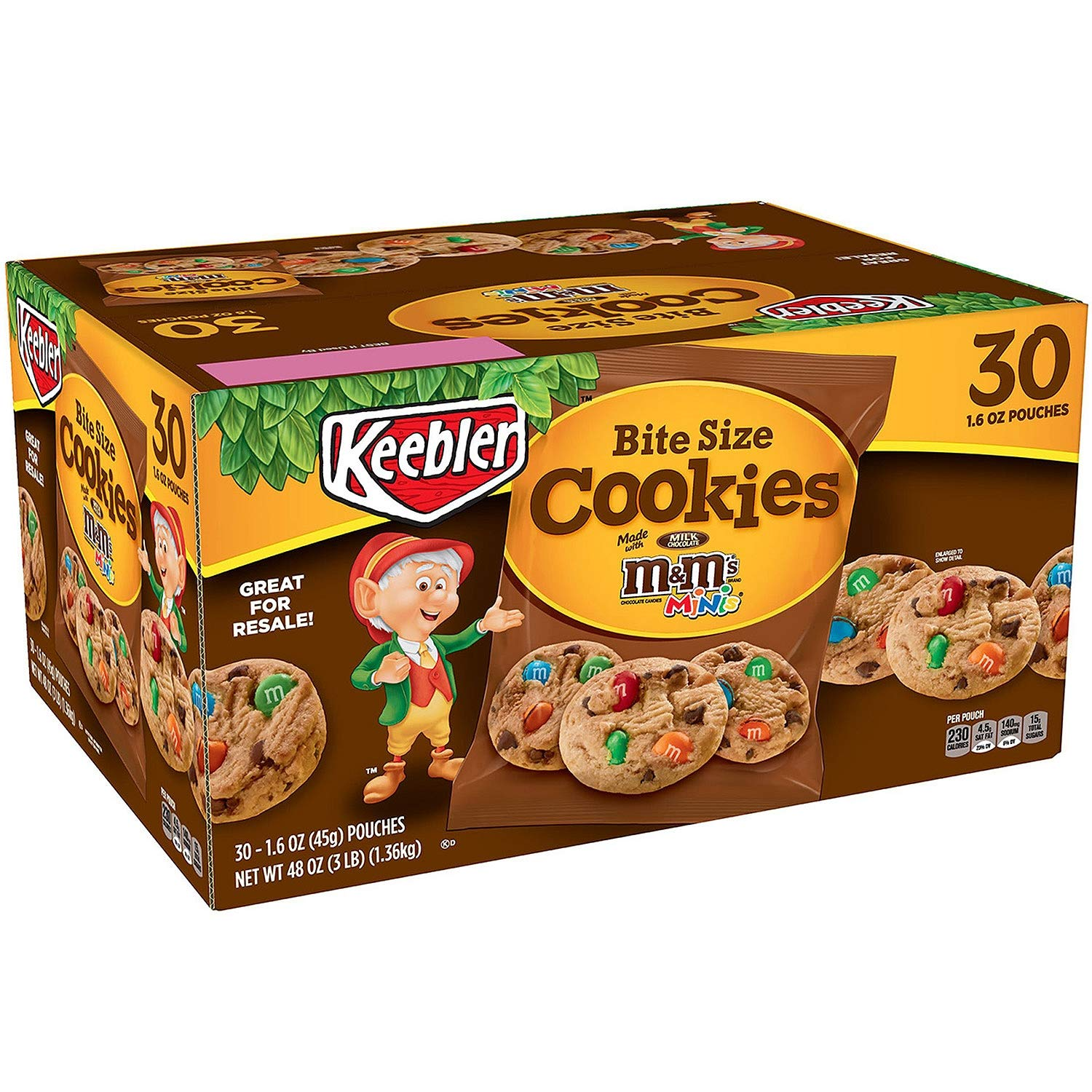 Keebler M&M Bite Size Cookies 1.6 oz., 30 ct. (pack of 4) A1