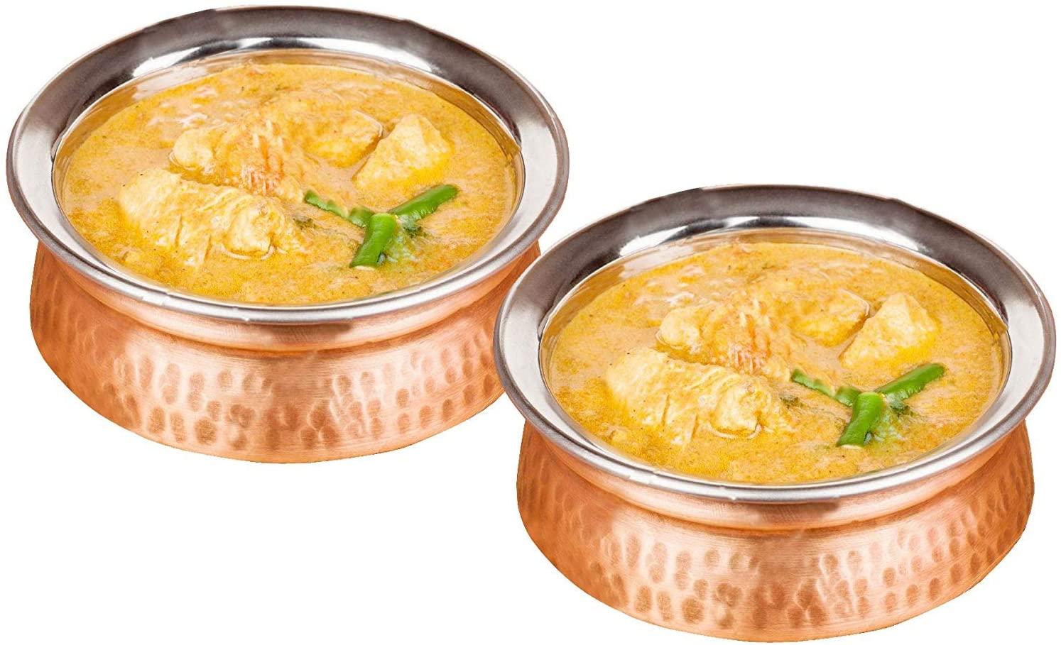 Rastogi Handicrafts Set of 2, Indian Tableware Vegetable Service Bowl for Indian Food, Diameter 6 Inches