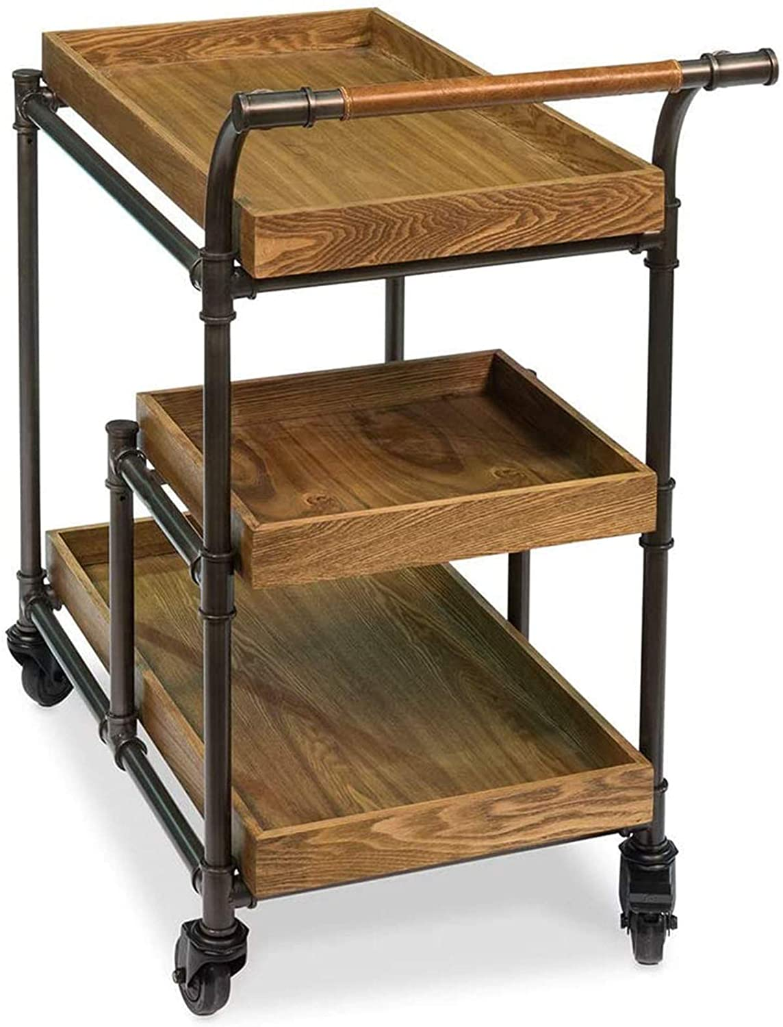 JHSHENGSHI Hotel Wine Trolley Restaurant Mobile Solid Wood Push Dining Cart Creative Meal Tea Cart Household Retro Old (Size: 45 88 75CM) Trolley