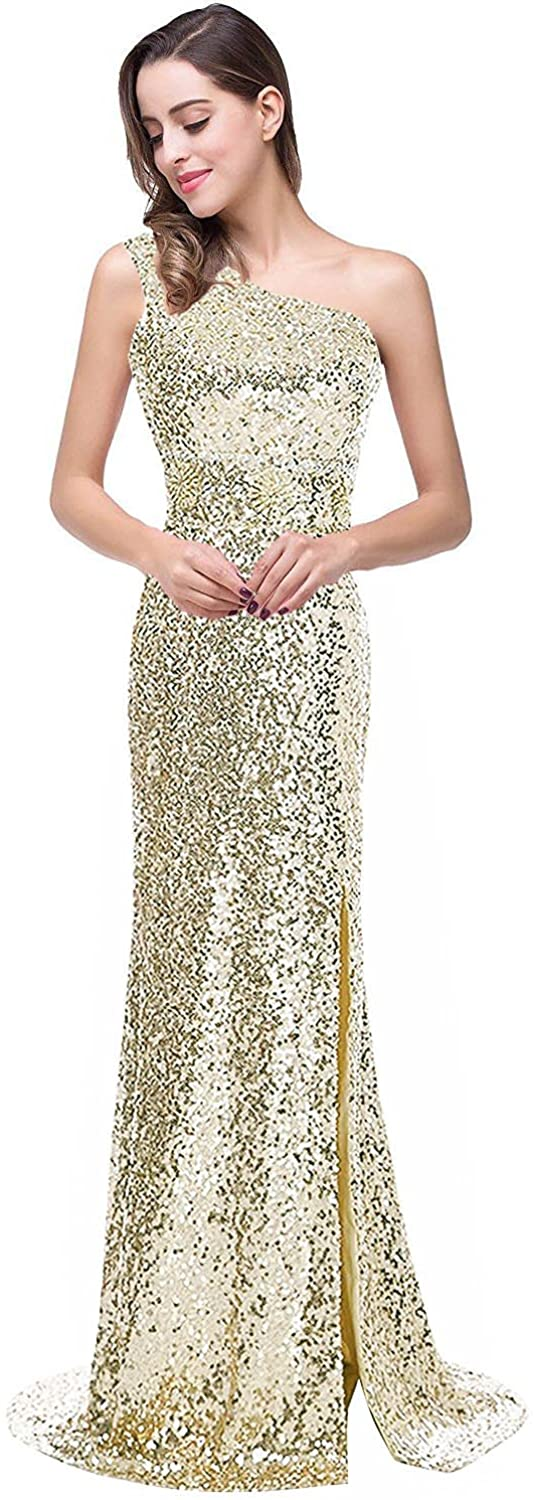 YSMei Womens One Shoulder Beaded Evening Prom Party Dress Long Split PM034