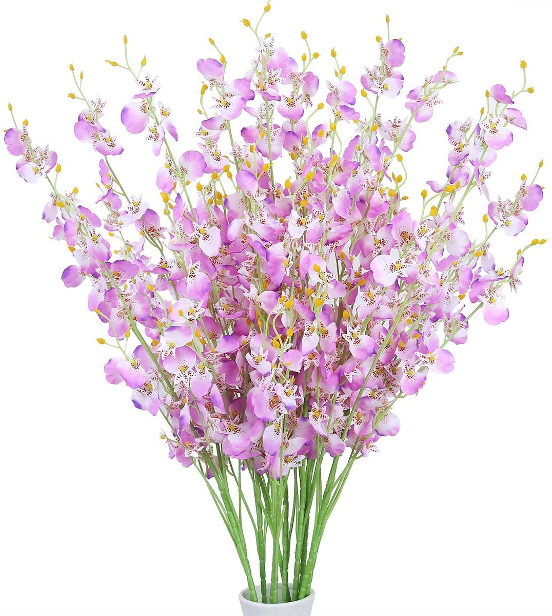 Artificial Orchids Flowers, 10 pcs Silk Fake Dancing Lady Orchids Flowers, Orquideas Flowers Artificial for Wedding Home Office Party Yard Decoration Restaurant Patio Festive Furnishing(Light Purple)