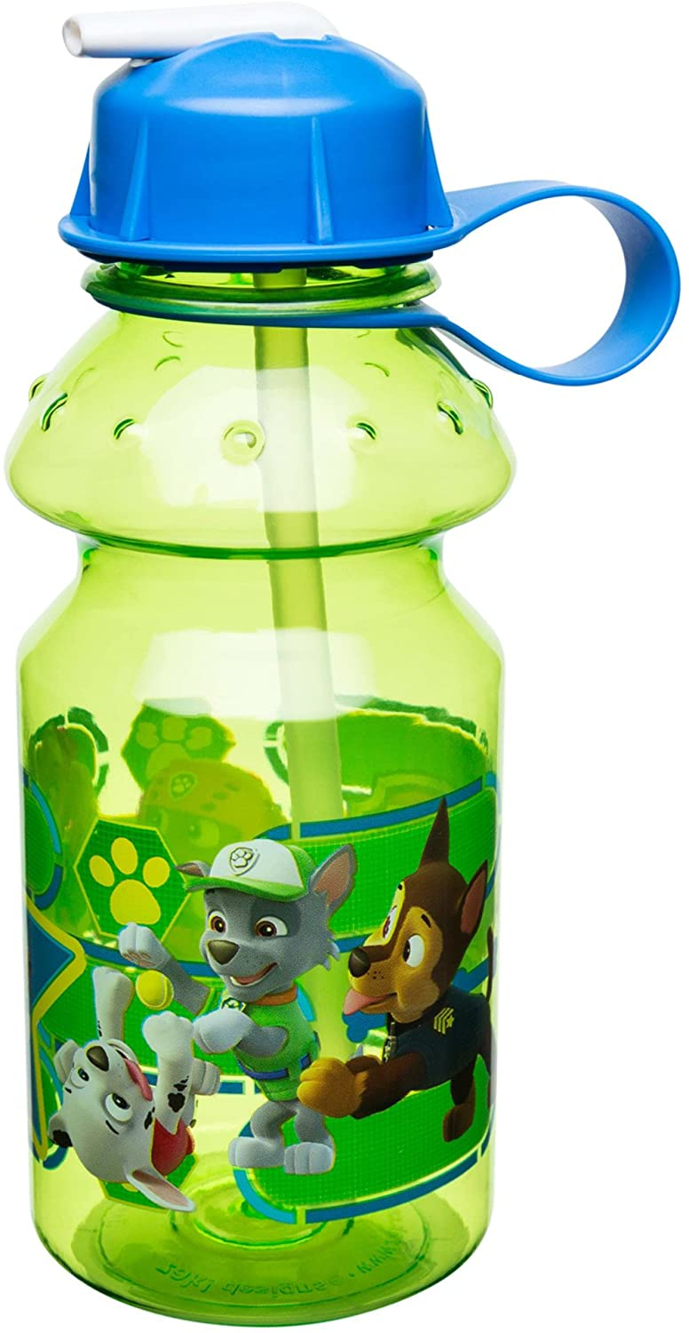 Zak Designs Paw Patrol Kids Water Bottle with Straw and Built-in Carrying Loop, Durable Water Bottle Has Wide Mouth and Break Resistant Design is Perfect for Kids (14oz, Tritan, BPA-Free)