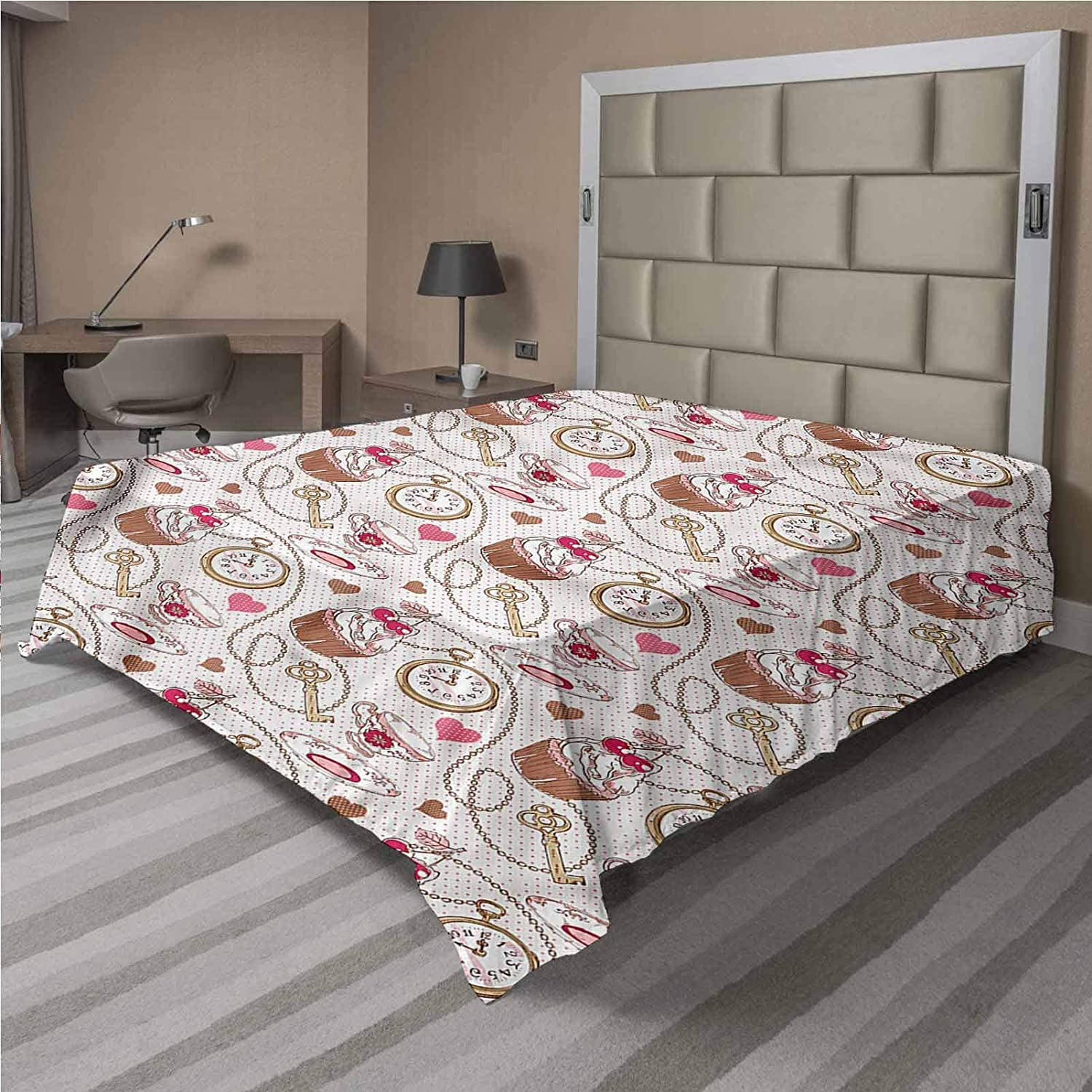 LCGGDB Clock Flat Top Sheet,Cherry Cupcake Cup of Tea Soft Comfortable Top Sheet Decorative Bedding 1 Piece,Full Size,Fit for Oversize and Extra Height Full Bed