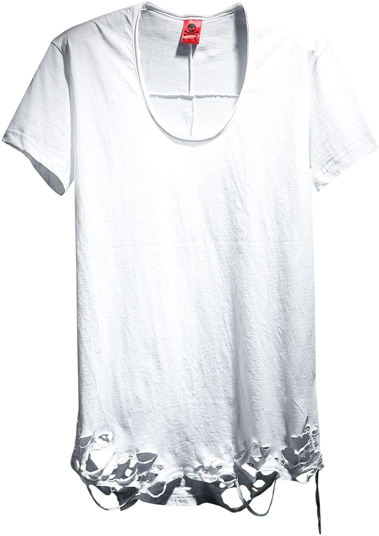 ByTheR Men's Fashion Grunge Cutting Custom Detail Loose Fit Cotton T-Shirt