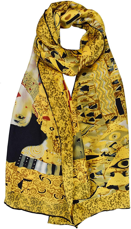 Elegna 100% Luxurious Silk Scarf Gustav Klimt Famous Painted Scarves