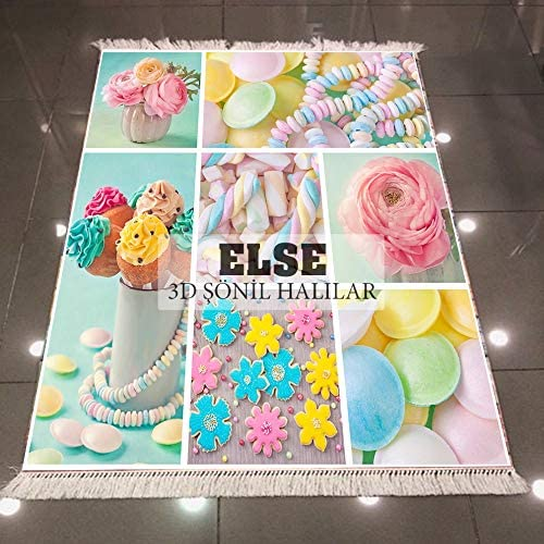 Else Pink Blue Yellow Cakes Macaroon Candy 3D Print Microfiber Anti Slip Back Washable Decorative Kilim Area Rug Carpet