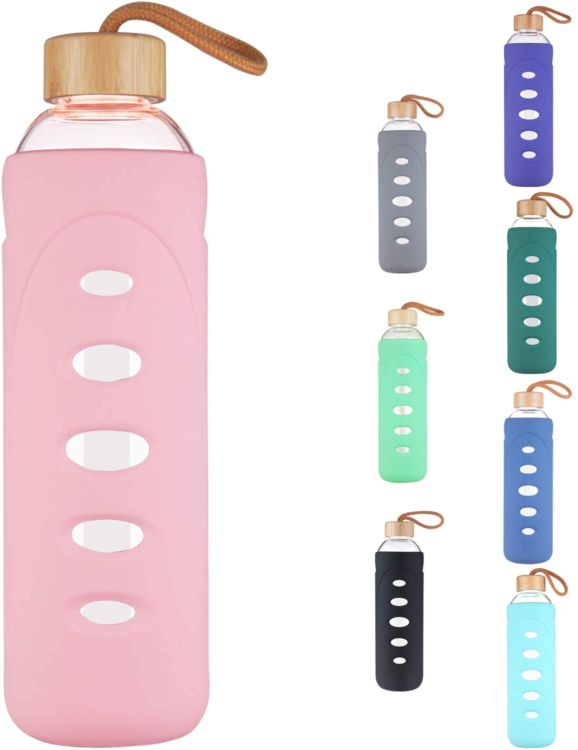 DEARRAY Sport Borosilicate Glass Water Bottle with Protective Silicone Sleeve and Unique Bamboo Lid 32oz Pink
