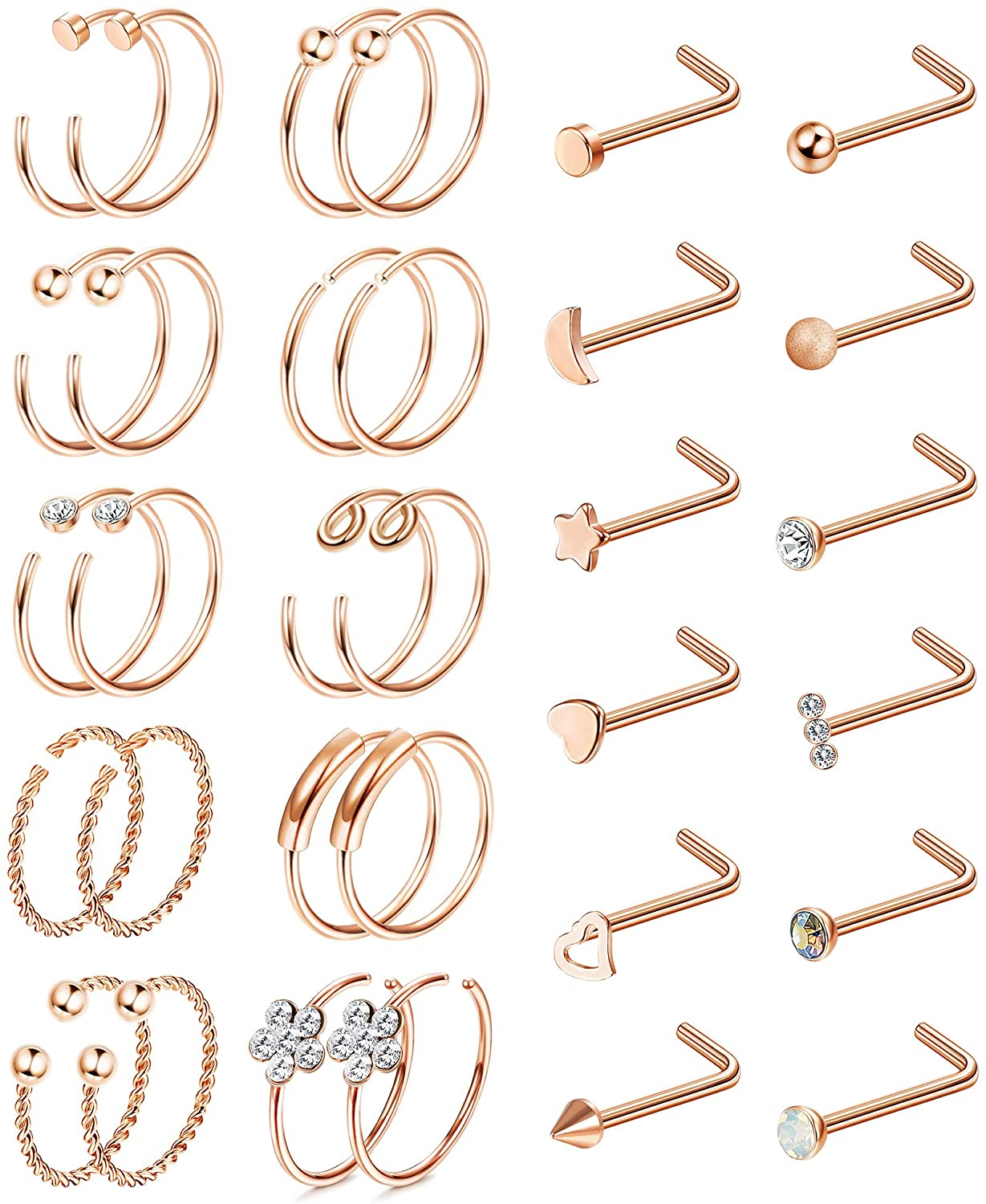 BodyBonita 32pcs Nose Rings Nose Studs 316L Stainless Steel L Bone Screw Shaped Nose Studs CZ Hoop Tragus Cartilage Labret Earrings Nose Piercing Jewelry for Women Men 20G