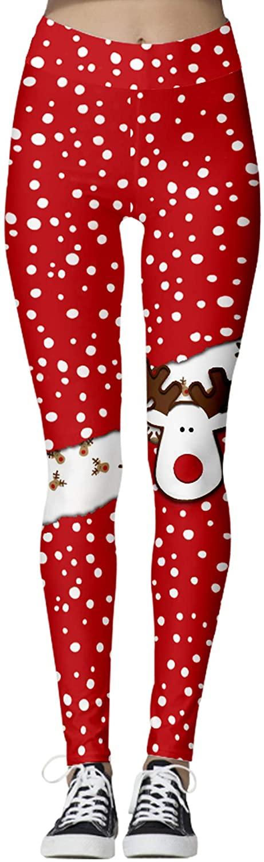 Besshopie Womens Ugly Christmas Leggings Footless Cute Merry Christmas Digital Print