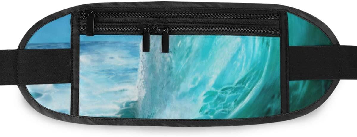 SLHFPX Painting Ocean Wave Hidden Money Belt,Fanny Pack,Running Belt,Travel Wallet Pouch,Wasit Packs Bag,Passport Holder,Bum Bag,Belt Bags for Women Men
