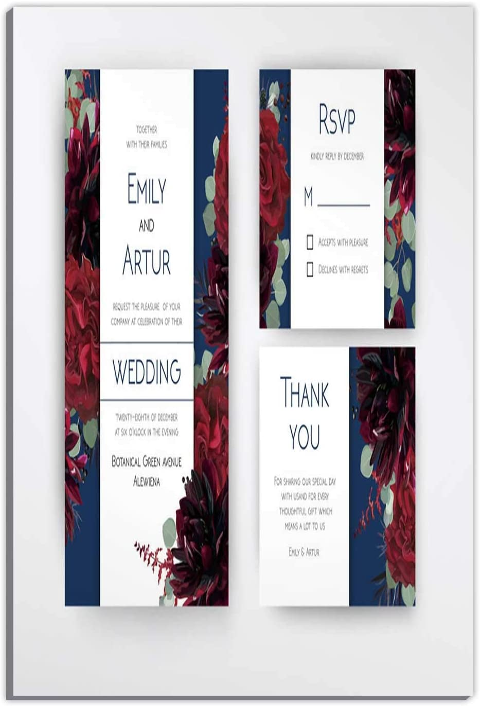 Hitecera Wedding Invite Invitation RSVP Thank You No.5490,Couple Gifts,Room Decorations for Bedroom,16''x19''