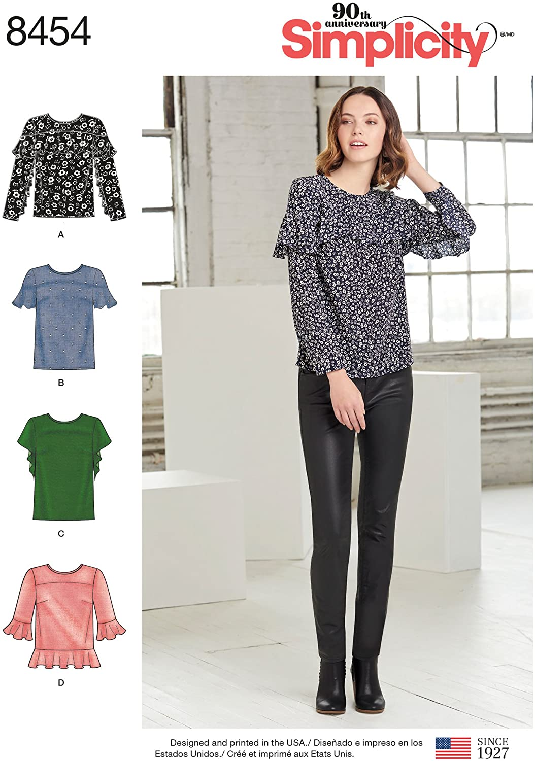 Simplicity Creative Patterns Misses' Tops with Sleeve & Flounce Variations Pattern, R5 (14-16-18-20-22)