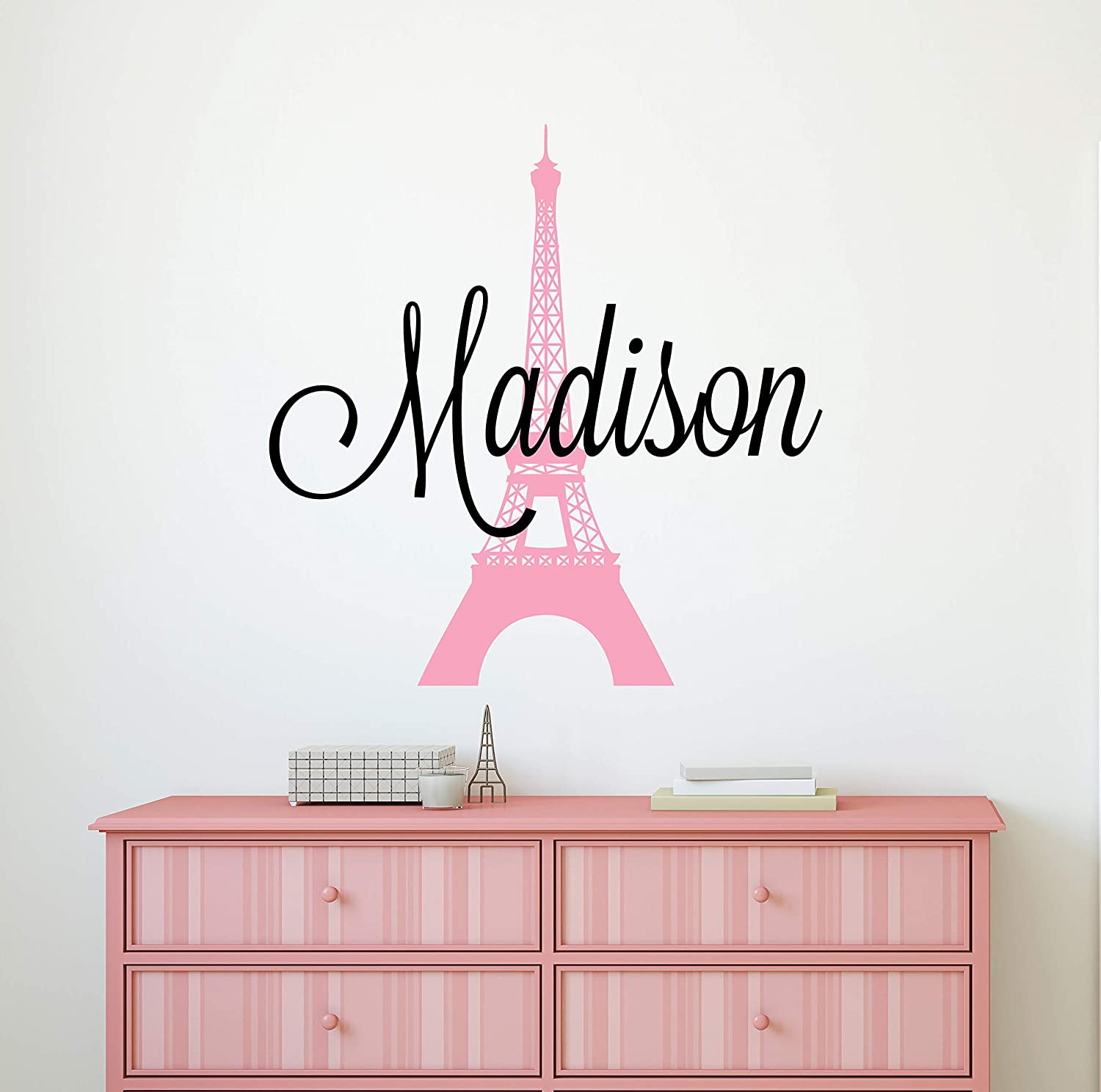 Custom Name Paris Wall Decal - Girls Personalized Name Eiffel Tower Wall Decor - Girls Name Sign Stencil Monogram Bedroom Room Wall Art Mural Vinyl Sticker (34