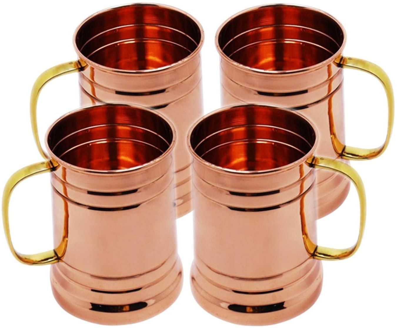 Handicraft Hub 4 PCS Copper Tankard Large Moscow Mule Mug Copper Mugs Capacity 20 Ounce