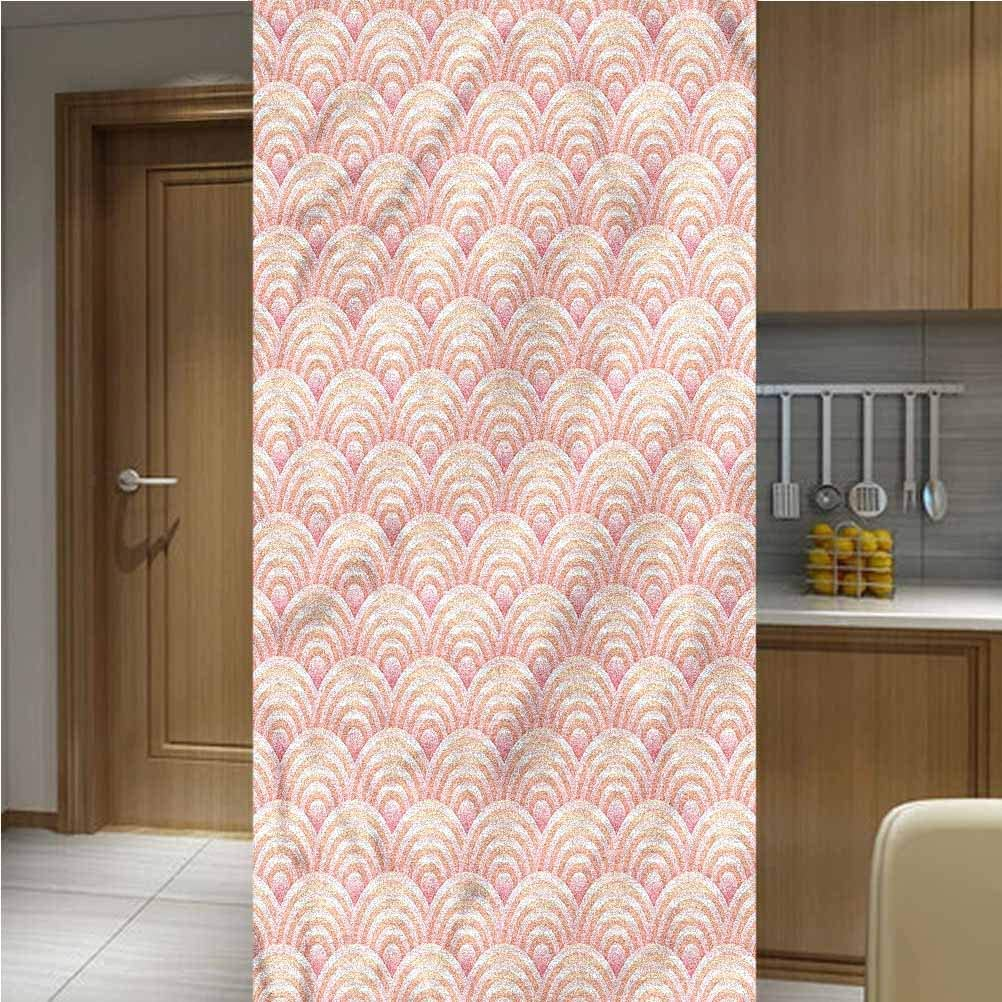 ONE Piece Privacy Decorative Window Film Window Decols,Japanese Style Ocean Wave Non Adhesive Frosted Home Office Film Privacy Window Sticker,35.6
