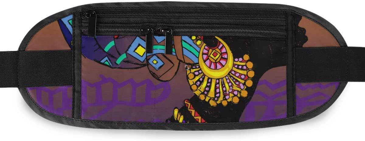 SLHFPX Silhouette Of Black Woman Ethnic Hidden Money Belt,Fanny Pack,Running Belt,Travel Wallet Pouch,Wasit Packs Bag,Passport Holder,Bum Bag,Belt Bags for Women Men