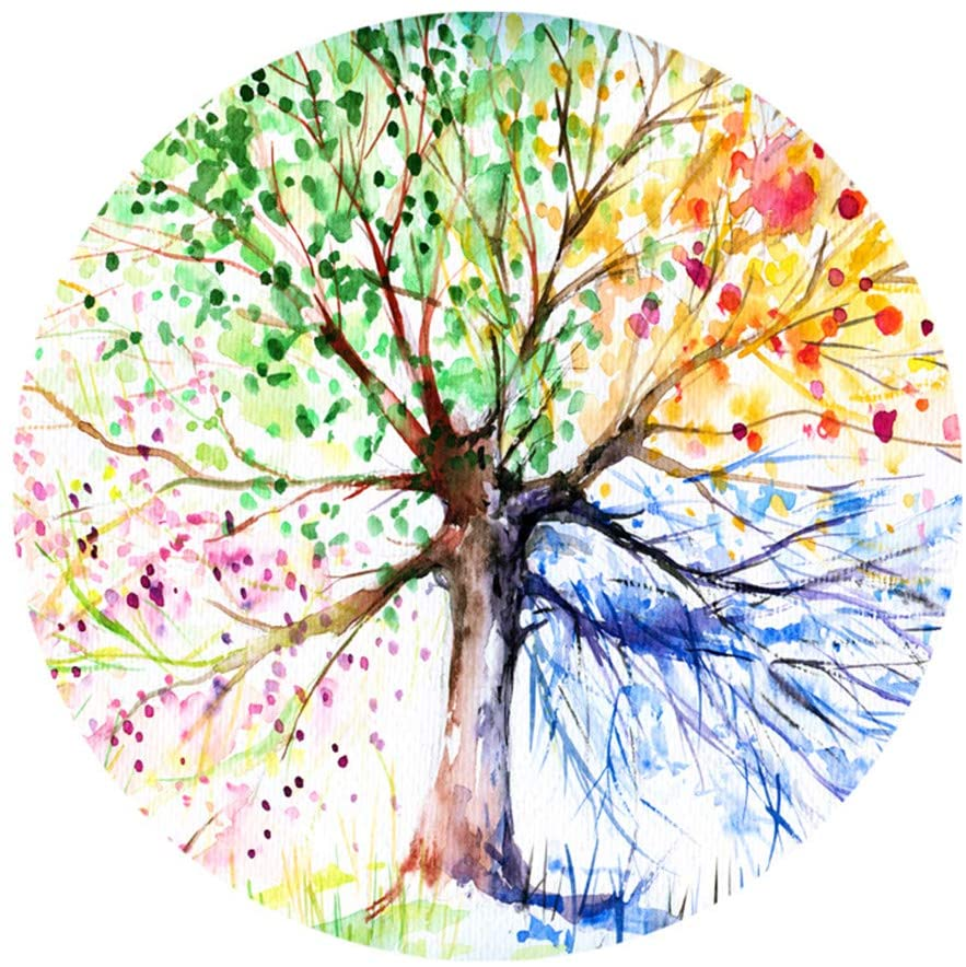 Goodbath Color Tree Round Rug, Four-Season Forest Tree of Life Non Slip Area Rug Washable Bedroom Living Room Study Playing Floor Mat Carpet, 4 Feet,Colorful
