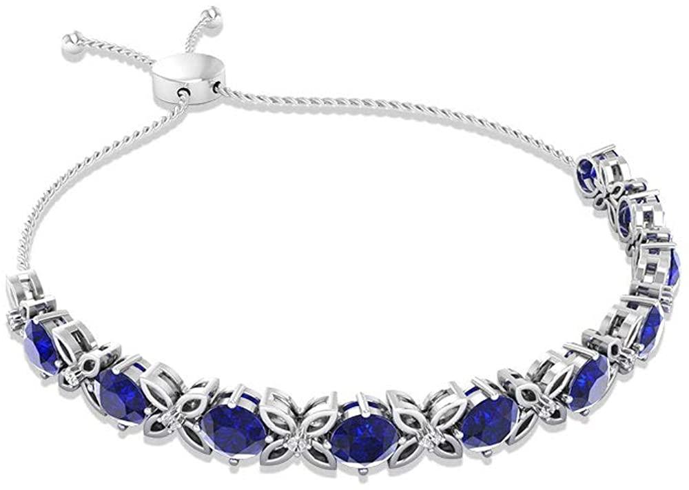 Certified 6.65 Carat Round Blue Sapphire Bolo Bracelet, September Birthstone Diamond Flower Bracelet, Women Solid 14k Gold Open Floral Charm Bracelets 18 Carat