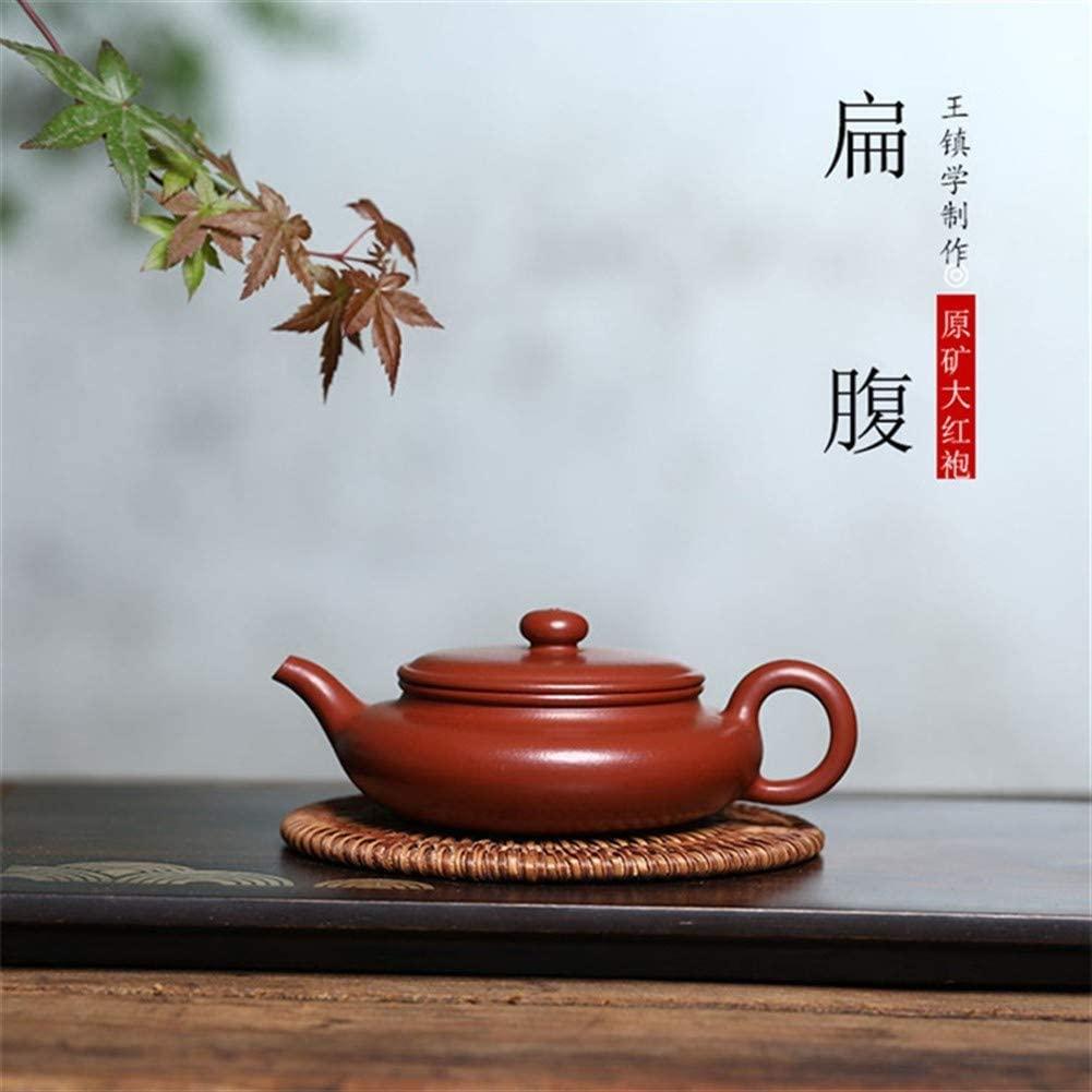 SHENLIJUAN Ming Accord ore teapot famous handmade teapot tea Dahongpao flat belly (Color : Red)