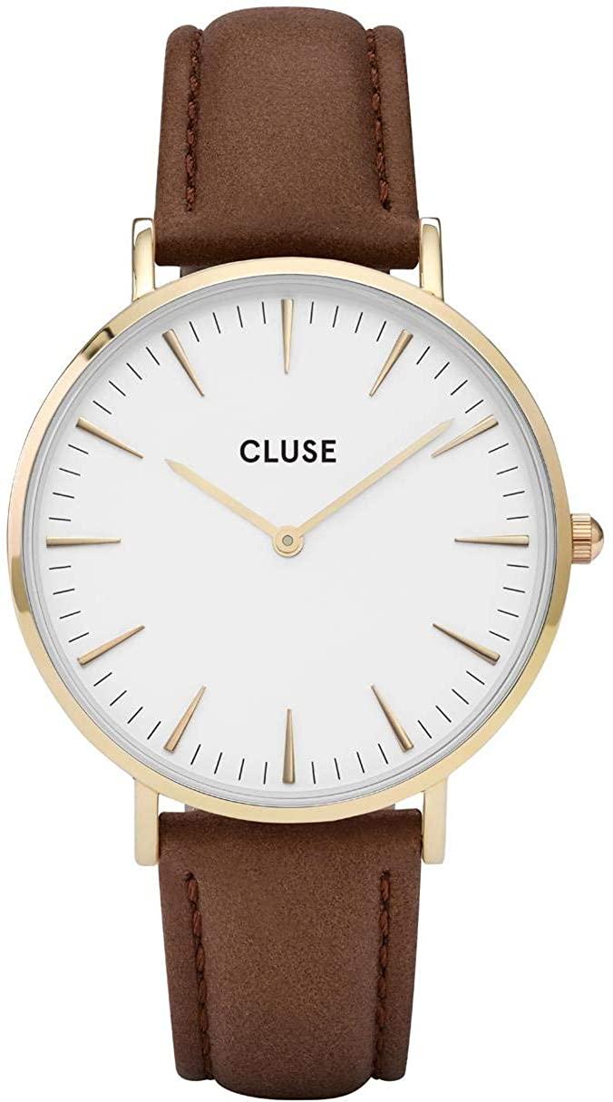 CLUSE CL18401 La Bohme Gold Black Analog Display Quartz Watch, Black Leather Band, Round 38mm Case