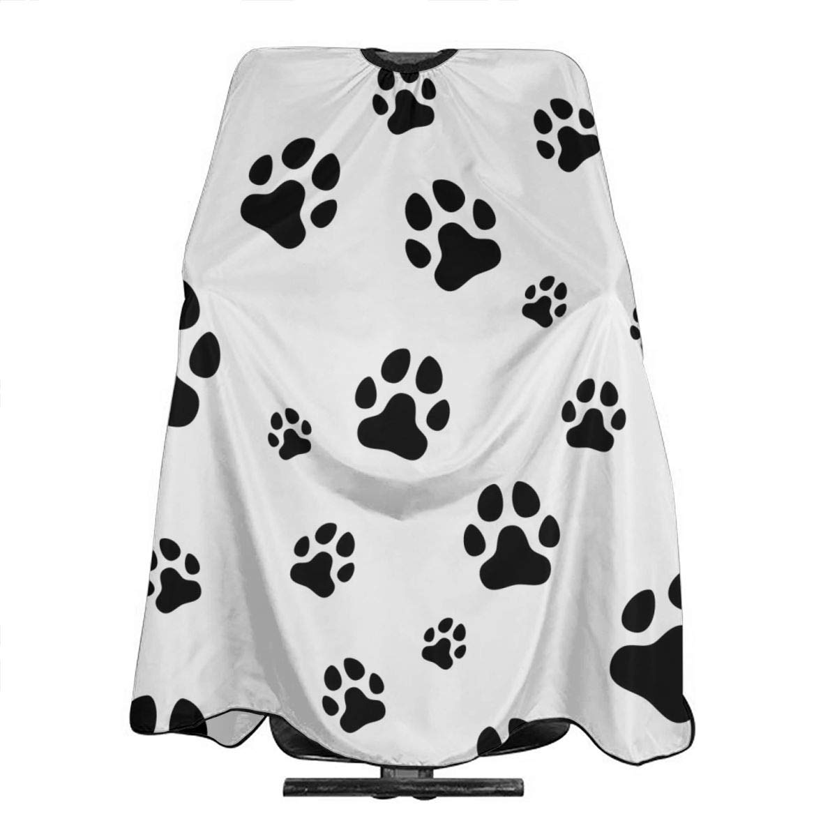 Barber Cape Black Dog Paw Print Cat Footprint On White Professional Salon Hair Cutting Capes For Hair Stylist Waterproof Haircut Hairstylist Clients Hairstylist Capes For Adult Men Women Kids