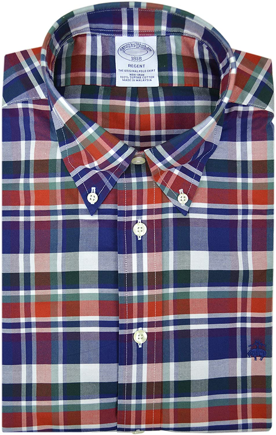 Brooks Brothers Mens Regent Fit 69029 Supima Cotton Embroidered Button Down Shirt Multicolored Plaid