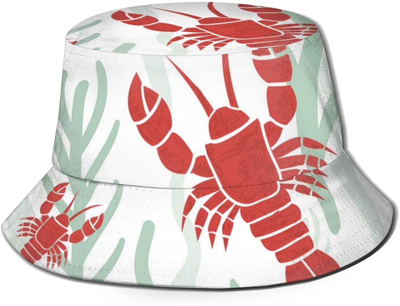 Neddelo Lobster Summer Fishermans Cap, Fashion Sun Hat, Breathable Washed Beach Bucket Hat for Men Women