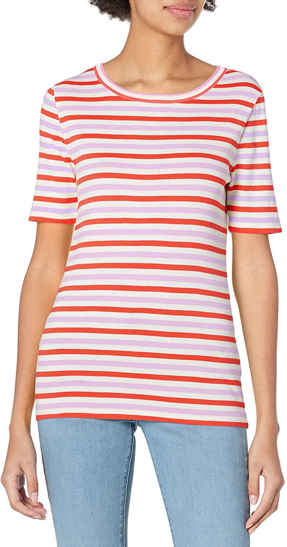 J.Crew Women's Slim Perfect T-Shirt in Stripe, Peony Ivory Orange, M