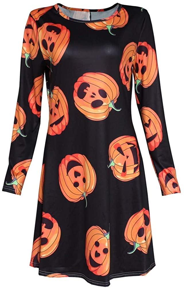 JSPOYOU Women Halloween Dresses Pumpkin Print Long Sleeve Party Swing Mini Dress