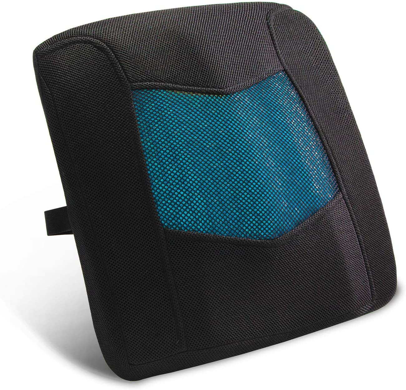 Memory Foam Lumbar Support Back Cushion with 3D Mesh Cover and Cooling Gel Balanced Firmness Designed for Lower Back Pain Relief- Ideal Back Pillow for Computer/Office Chair, Car Seat, Recliner
