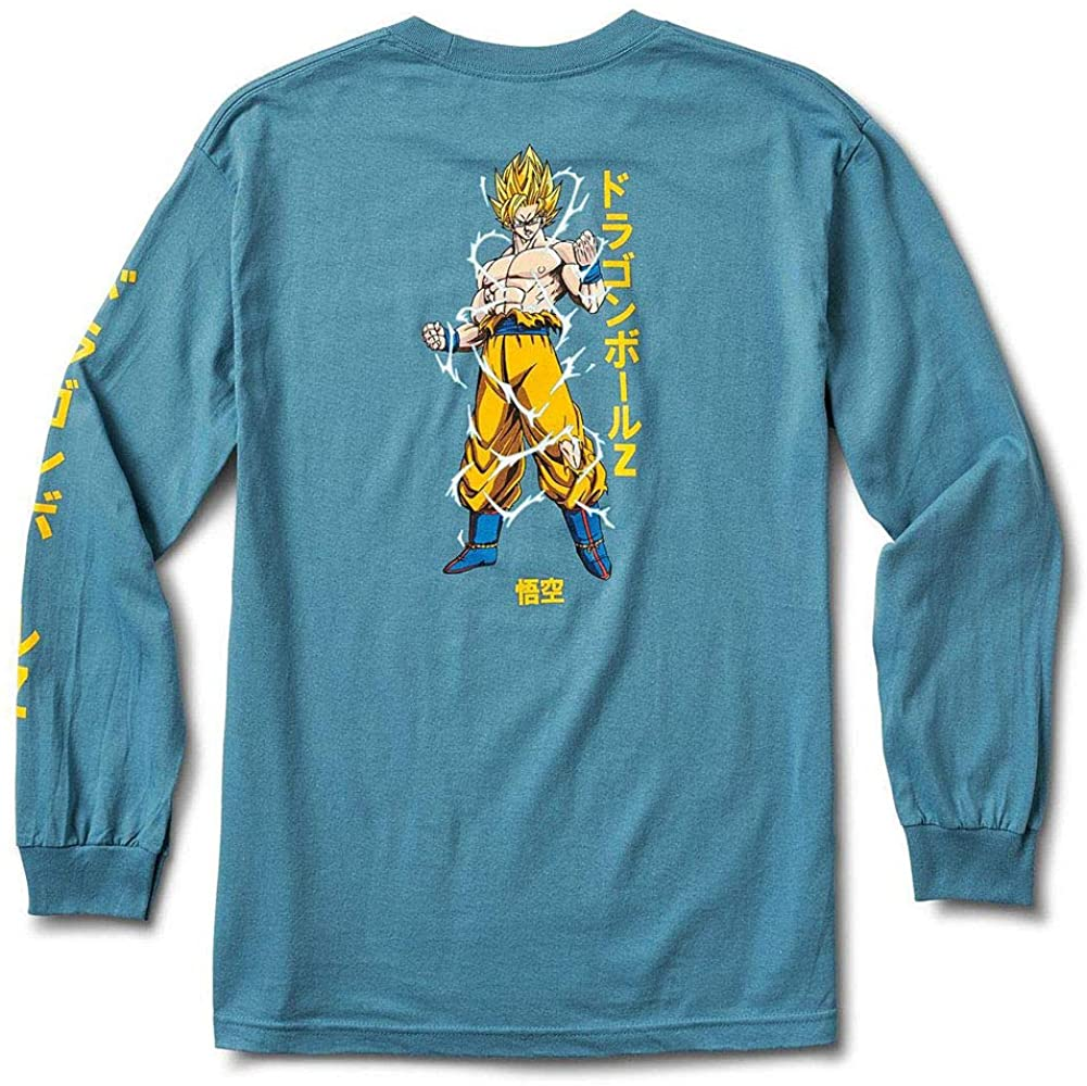 Primitive x Dragon Ball Z Super Saiyan Goku Men's Long Sleeve T Shirt Slate Blue 2XL